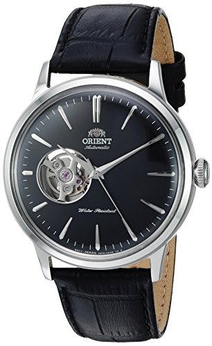 Orient Men's Bambino Open Heart Stainless Steel Japanese-Automatic Watch with Leather Strap, Black, 21 (Model: RA-AG0004B10A)