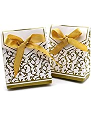 100 Gold Gift Boxes Candy Favor Box Wedding Decoration Party Decoration New Craft Decoration Thanksgiving Gifts