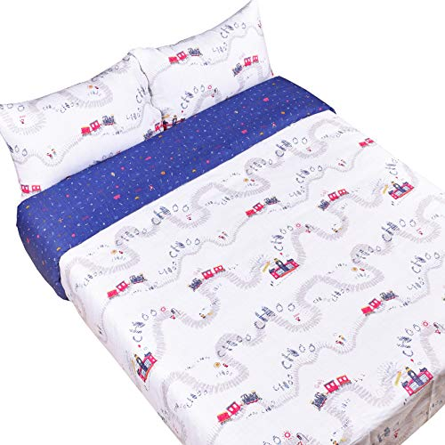J-pinno Train Travel Cartoon Reversible Duvet Cover Set with Zipper Closure, 100% Cotton Kids Boys Bedding Set Twin 2 Pieces (1 Duvet Cover + 1 Pillowcase) (Train, Twin 68″ X 90″)