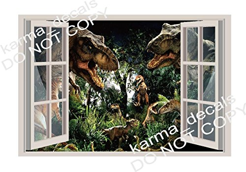 (Jurassic world dinosaur theme park 3D Window Decal Wall Sticker Art Mural)