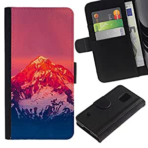 NEECELL GIFT forCITY // Billetera de cuero Caso Cubierta de protección Carcasa / Leather Wallet Case for Samsung Galaxy S5 V SM-G900 // Montaña Nevada Sunset