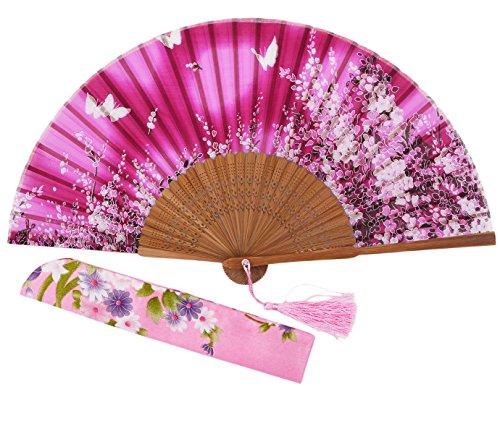Amajiji 8.27 Women Folding Fan Hand Fan,Chinease/Japanese Vintage Retro Style for Women Ladys Girls (AM-03)