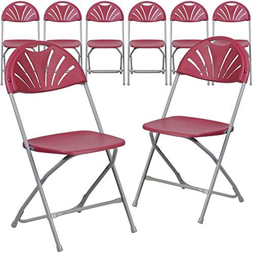 Emma + Oliver 8 Pk. 650 lb. Capacity Burgundy Plastic Fan Back Folding Chair Burgundy Plastic Folding Chair