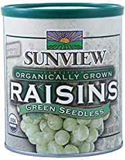 Sunview Organic raisins green can, 15oz