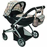 Babyboo Deluxe Twin Doll Pram/Stroller Beige Plaid & Black with Free Carriage Bag (Multi Function View All Photos) – 9651A For Sale