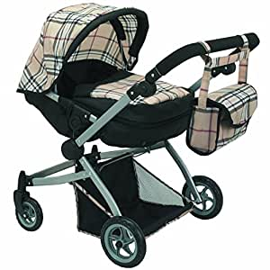 Babyboo Deluxe Twin Doll Pram/Stroller Beige Plaid & Black with Free Carriage Bag (Multi Function View All Photos) - 9651A