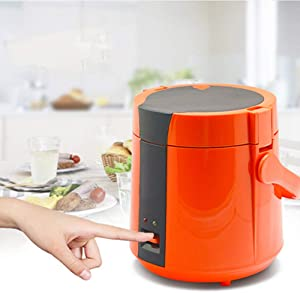 Electric Rice Cooker Mini Portable Household Cooker with Double Spray Non-Stick Pan Liner and Portable Handle for 1-2 People(1.2L),Orange