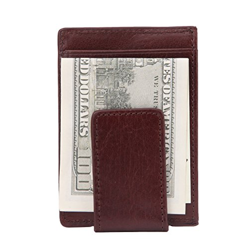 (Banuce Vintage Full Grains Italian Leather Magnetic Money Clip Slim Credit Card Holder Wallet Case Brown)
