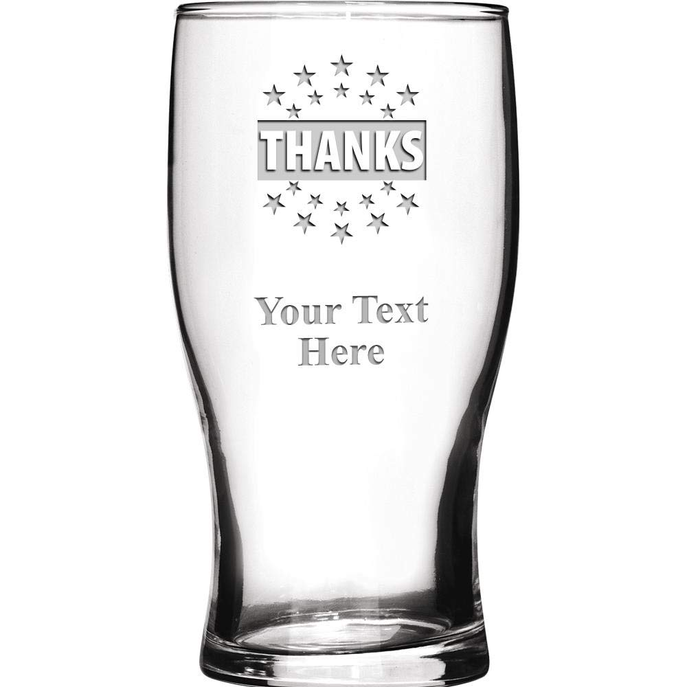 Corporate Thank You Personalized Beer Glasses Gift, 19 1/2 oz Personalized Thank You Beer Glass Award, Engraving Included Prime