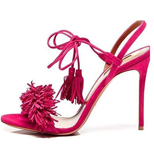 Jushee pink hot mujer talón Rosa abierto rYWwfprqA