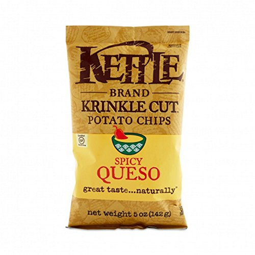 KETTLE BRAND, Krinkle Cut Potato Chips, Spicy Queso, Pack of 15, Size 5 OZ by Kettle Brand