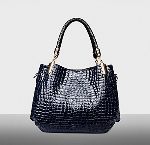 Bolsos Bolsos Mujer Bolsos de Bandolera Mujer Monedero Cocodrilo de Bolso con Cuero Bolsos Azul Bolso Mujer Set Coofit Grandes nfzxqt7T