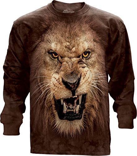 The Mountain Big Face Roaring Lion USA Long Sleeve T-Shirt, XX-Large, (Roaring Twenties Mens Clothing)
