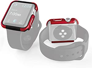 X-Doria Defense Edge, 44mm Apple Watch Case - Premium Aluminum & TPU Bumper Frame, Compatible with Apple Watch Series 4 Only - Red