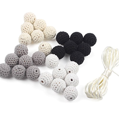 (Wooden Teether Beads 50 Pieces 0.79inch Covered Thread Mix Black and White Colors Crocheted Beads DIY Accessory Jewellery)