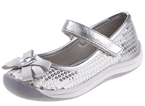 Laura Ashley Toddler Girls Metallic Mary Jane Shoes with Sequins and Rhinestone Bow, Silver, Size 7'