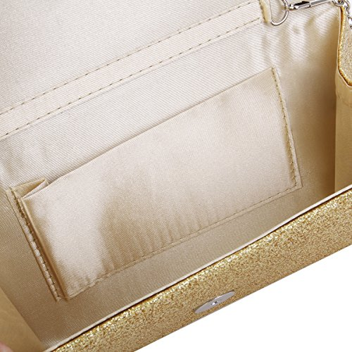 Clutch Glitter Bag Evening Colors Gold Metallic Small Handbag Premium Flap Diff qwaIf6x