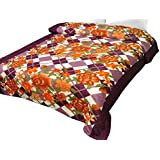 Christy's Collection Super Soft Printed Cotton Blend AC Double Blanket - Purple