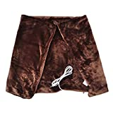 Kingwolfox USB Intelligent Electric Heated Warm Fleece Shawl & Wrap Electric Heating Blanket for Home, Office (Brown)