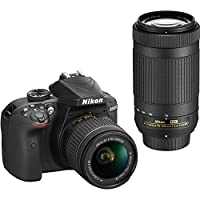 Nikon D3400 DSLR Camera w/ AF-P DX NIKKOR 18-55mm f/3.5-5.6G VR and 70-300mm f/4.5-6.3G ED Lens - Black (Certified Refurbished)