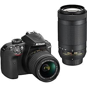 Nikon D3400 with AF-P DX NIKKOR 18-55mm f/3.5-5.6G VR + Nikon AF-P DX NIKKOR 70-300mm f/4.5-6.3G ED Lens + 64GB, Deluxe…