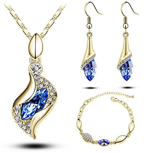 YIN E FANG Wizard Austrian Crystal Necklace Earrings Fashion Jewelery Set -