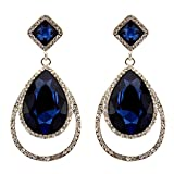 209-NAVY DARK BLUE Fashion Party & Wedding Jewelry Tear Drop Dangle Chandelier Alloy Rhinestone Earrings