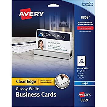 Amazon laser glossy business cards 100 sheets 1000 avery ave8859 business cardsinkjet2 sidedglossy2 in x 35 in200 pkwe colourmoves