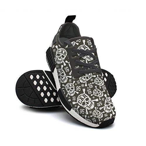 Shoes Sneakers Art Neanderthal Lightweight Fashion Sneakers Breathable FAAERD Womens Rendy Skull Mesh qXxRwWE