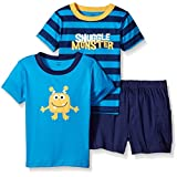 Gerber Toddler Boys Three-piece T-shirt and Short Set, Snuggle Monster/Exclusive, 5T