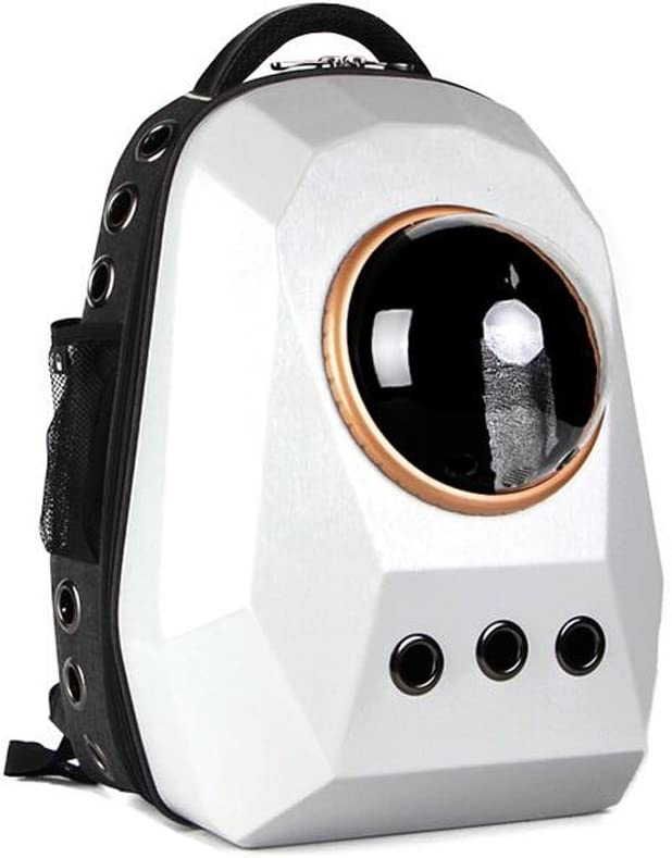 Portable Travel Pet Carrier Backpack,Space Capsule Bubble Design,Waterproof Handbag Backpack For Cat And Small Dog Color : White RUNWEI Backpack Soft Sided