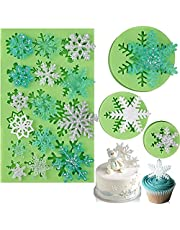 Snowflake Fondant Molds, Christmas Snowflake Sugarcraft Mold, 3D Silicone Baking Mold for Chocolate Candy Cupcake Decoration Polymer Clay Resin Mold Frozen Party Supplies (4 Pieces/Green)