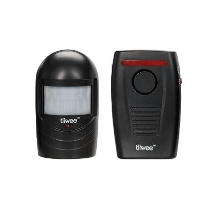 Tiiwee Sensor de Movimiento Exterior - Alarma de Entrada - Negro - Camino de entrada