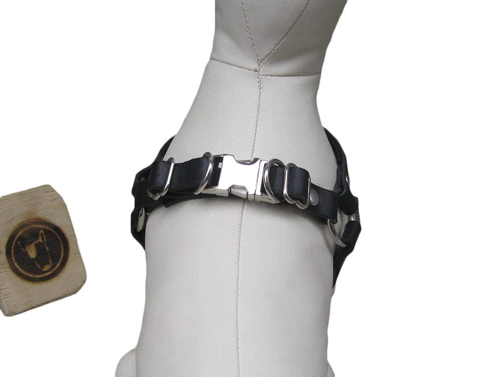Ideal for Small and Medium Breeds Comfort No Pull Dog Harness YupCollars Made in Italy Step in Dog Harness in Black Leather
