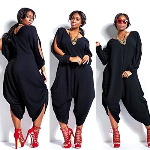Kalinyer Women Elegant Jumpsuits,Women Loose Solid Color V Neck Long Sleeve Hollow Out Jumpsuit Playsuit(Black,XXXXXL) by Kalinyer (Image #1)
