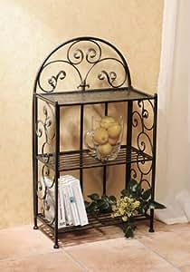 Metal Shelf- Decorative 32* Metal Shelf With Wrought Iron Motif, Folding Shelf Product SKU: HD229388