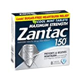 Zantac 150 Maximum Strength Heartburn Relief Cool Mint Tablets, 8 ct (Pack of 24)