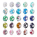 Set of (50) Assorted Mix Handmade Lampwork Glass Bead Charm Spacers for Snake Chain Bracelets