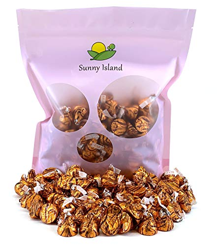 Sunny Island Bulk - Hershey's Kisses Milk Chocolate Filled with Caramel Candy, Gold Foil Candy, 2 Pounds Bag ()