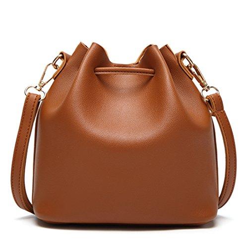 Hkiss Bucket Small Drawstring Crossbody Mini Shoulder Tassel Ladies Handbags Long Strap Safe Lock Button