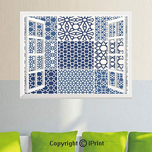 Removable Wall Sticker Creative Window View,Arabesque Islamic Motifs with Geometric Lines Asian Ethnic Muslim Ottoman Element,27.5x23.6inch,for Livingroom BedroomBlue White ()