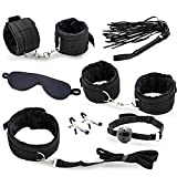 Plug-In Eye Mask Breast Clips,Women's Handcuffs/Adult Leg Lock Limit Kit/Couple Toys,C