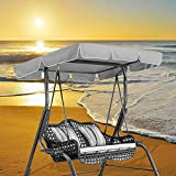 Patio Outdoor 2 Seater/3 Seater Swing Canopy Replacement Porch Top Cover Seat Furniture, Replacement Canopy Top Cover with 4 Reinforced Corner Pockets, Waterproof