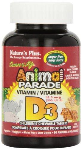 Nature s Plus - Animal Parade sans sucre Vitamine D3 500 UI Enfants à Croquer - Noir Saveur de Cerise, 90 comte