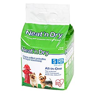 IRIS Neat 'n Dry Premium Pet Training Pads, Small, 17.5″ x 17.5″, 25 Count