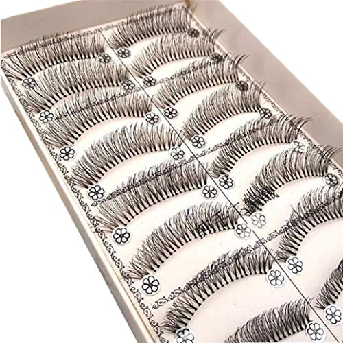 Sdoo 10 Pairs Handmade Long Cross False Eyelashes Makeup Natural Fake Eyelashes For Makeup (K)