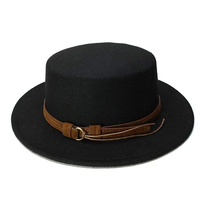 fb13874780b xtanb- Vintage Wool Wide Brim Cap Pork Pie Porkpie Bowler Hat Coffee  Leather Band for