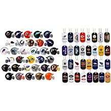 Mini Nfl Football Helmets and Dog Tags Complete Sets of 32 Each, Total 64 Licensed Items