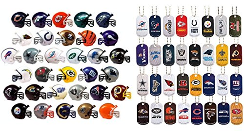 Mini Nfl Football Helmets and Dog Tags Complete Sets of 32 Each, Total 64 Licensed Items -
