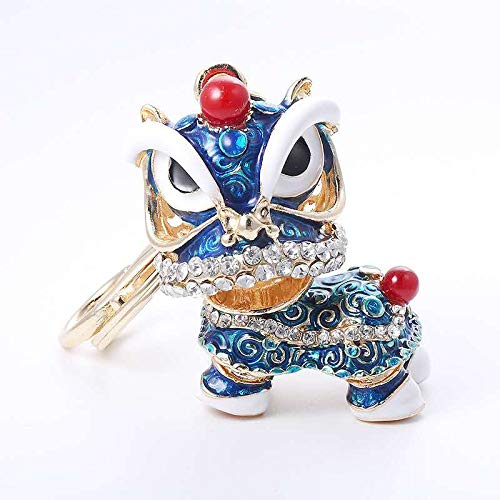 - Blue Lion Car Keychain Chinese Traditional Culture Crafts Shiny Crystal Diamond Metal Key Ring Home Decoration Blessing Gift